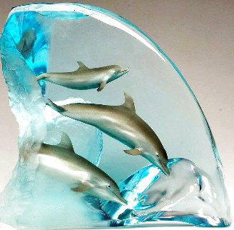 Dolphin Tribe Acrylic Sculpture AP 1999 14 in Sculpture - Robert Wyland