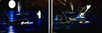 Shooting Stars (Diptych) 2007 36x80 Super Huge Limited Edition Print - Robert Wyland