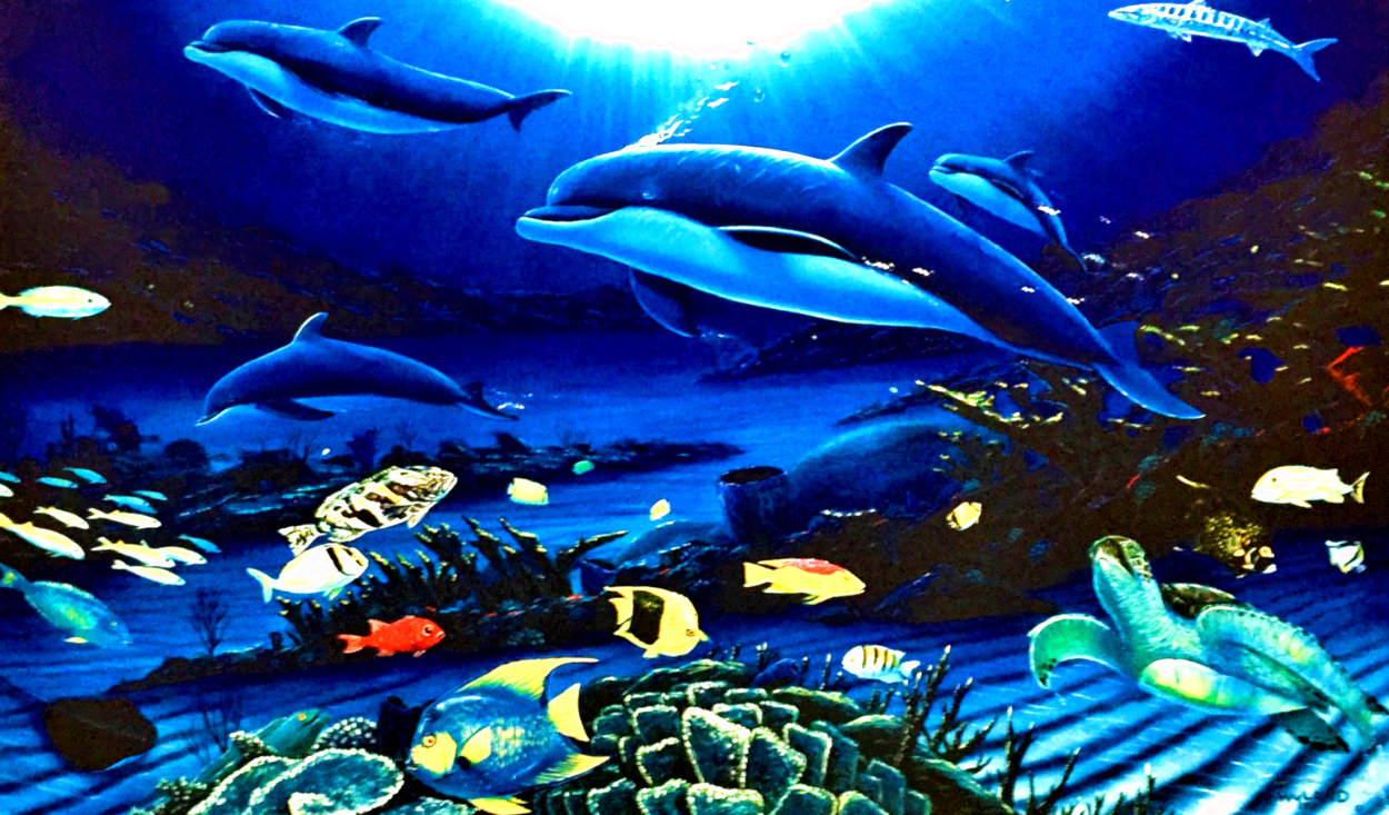 In the Company of Dolphins AP 2002 Embellished Limited Edition Print by Robert Wyland
