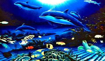 In the Company of Dolphins AP 2002 Embellished Limited Edition Print - Robert Wyland