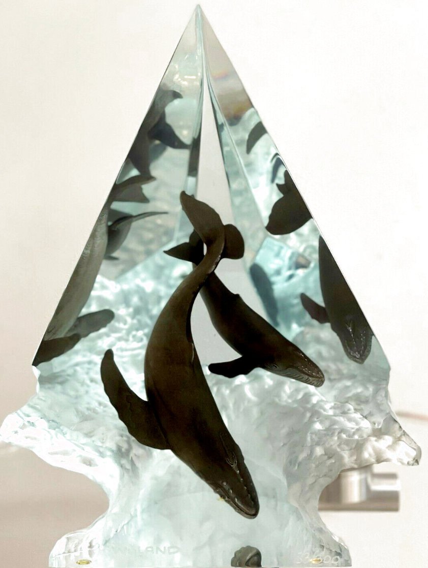 Light of Humpbacks Lucite Sculpture 2007 11 in Sculpture by Robert Wyland