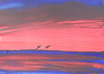 Two Dolphins Watercolor 2017 20x28 Original Painting - Robert Wyland