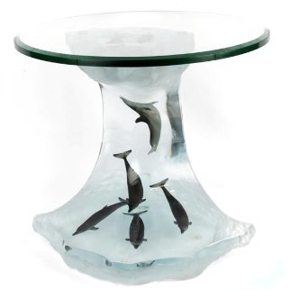 Dolphin Wave Table Acrylic//Bronze AP 2006 23 in Sculpture - Robert Wyland