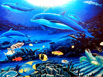 In the Company of Dolphins 1999 Huge Limited Edition Print - Robert Wyland