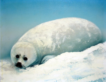 Baby Harp Seal 1984 24x30 Original Painting - Robert Wyland
