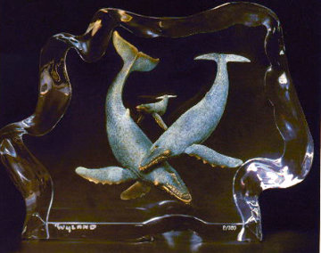 Humpback Family Acrylic Sculpture 12 in Sculpture by Robert Wyland