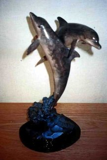 Ocean Friends Bronze Sculpture (Dolphins) 1994 17 in Sculpture - Robert Wyland