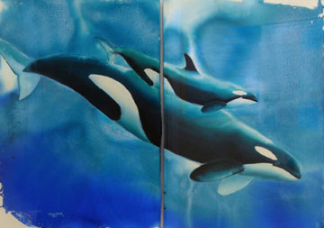 First Born Diptych Watercolor 1986 39x52 Original Painting by Robert Wyland