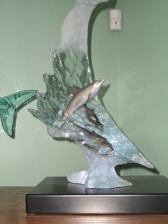 Dolphin Sea Bronze/Acrylic Sculpture 2006 22 in  Sculpture by Robert Wyland