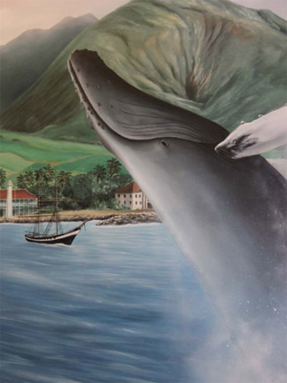 Maui Humpback Breeching 54x41 Original Painting by Robert Wyland
