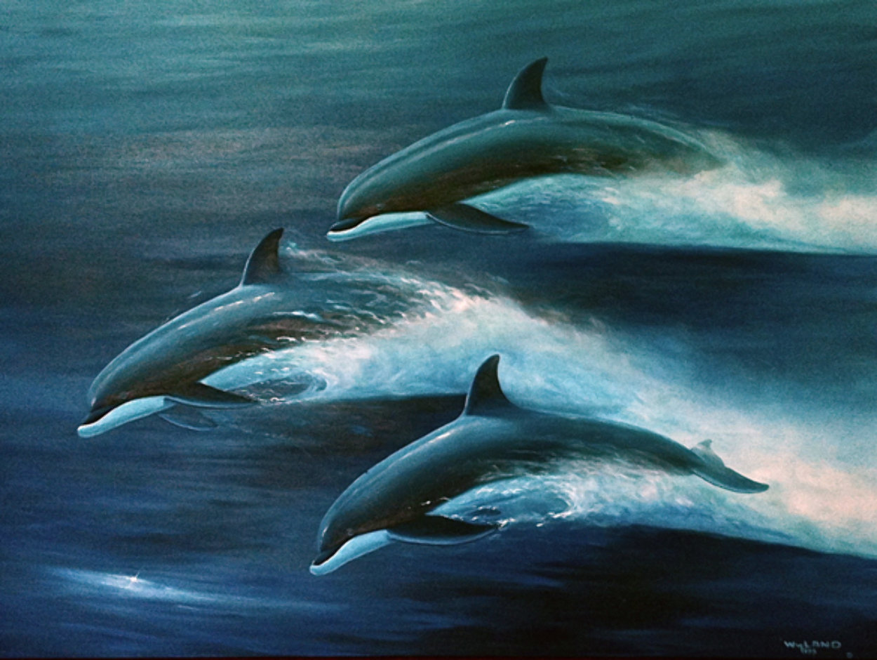 Pacific Travelers (Dolphins) 1995 48x60 Super Huge Original Painting by Robert Wyland
