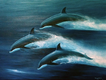 Pacific Travelers (Dolphins) 1995 48x60 Original Painting - Robert Wyland