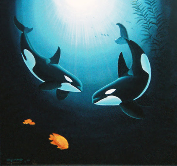In the Company of Orcas PP Limited Edition Print by Robert Wyland