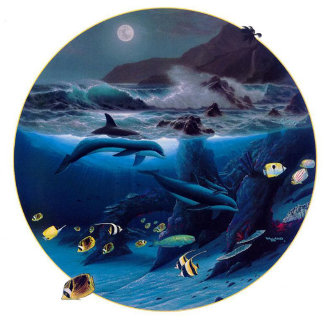 Dolphin Moon 1992 Limited Edition Print - Robert Wyland