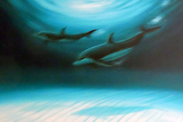 2 Dolphins 2007 35x46 Super Huge Original Painting - Robert Wyland