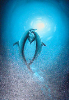 Warmth In the Sea (Dolphins) 2006 36x24 Original Painting - Robert Wyland