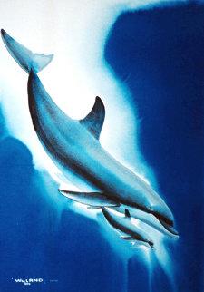 Dolphin Dreams Watercolor 1990 51x41 Watercolor by Robert Wyland
