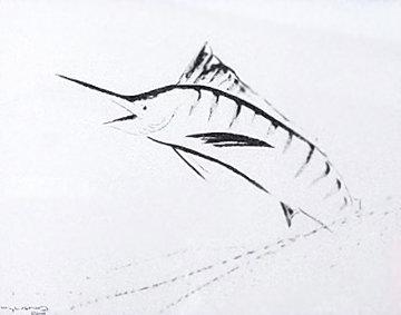 Marlin Brush Stroke 2006 35x46 Huge Works on Paper (not prints) - Robert Wyland