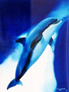 Noble Dolphin Watercolor 1999 34x29 Watercolor - Robert Wyland