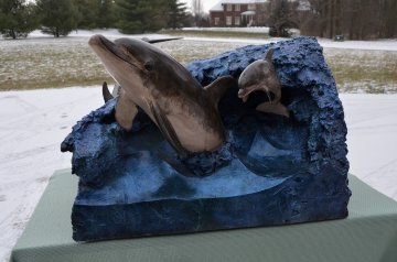 Dolphin Experience End Table Bronze Sculpture 1992 Sculpture by Robert Wyland