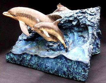 Dolphin Experience End Table Bronze Sculpture 1992 31 in Sculpture - Robert Wyland