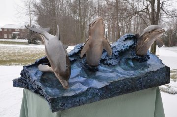 Wave Riders Bronze Coffee Table Sculpture 1992 Sculpture - Robert Wyland