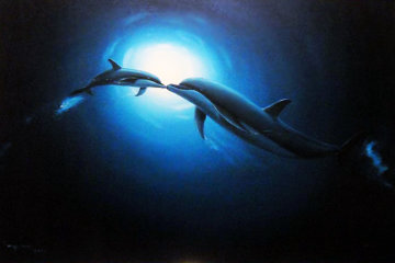 Dolphin Kiss 2004 34x46 Huge Original Painting - Robert Wyland