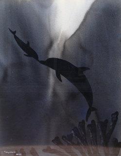 Evening Waters II Watercolor  2005 41x34 Original Painting - Robert Wyland
