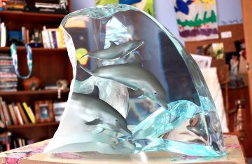 Dolphin Tribe Acrylic Sculpture 2000 14 in Sculpture - Robert Wyland