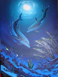 Coral Reef Dance 2007 41x32 Super Huge Original Painting - Robert Wyland