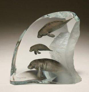Manatee Tribe Acrylic Sculpture 2001 Sculpture - Robert Wyland