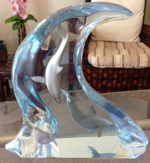 Dolphin Light Acrylic Sculpture 9 in Sculpture - Robert Wyland