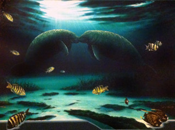 Manatee Encounter AP Limited Edition Print - Robert Wyland