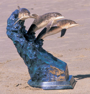 Ocean Riders Bronze Sculpture AP 1992 19 in Sculpture - Robert Wyland
