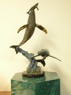 Cow Calf Escort Bronze Sculpture 1997 21 in Sculpture - Robert Wyland