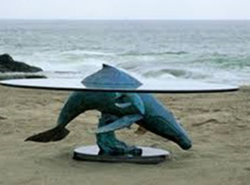 Above And Below Humpbacks Whale Bronze Coffee Table AP 1995 Sculpture by Robert Wyland