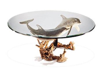 Reef Visit End Bronze Coffee Table 19x43 Sculpture by Robert Wyland