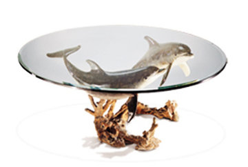 Reef Visit End Bronze Coffee Table 19x43 Sculpture - Robert Wyland