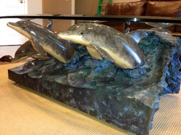 Wave Riders Bronze Table Sculpture 1992  42 in Sculpture - Robert Wyland
