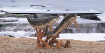 Meeting of the Minds Bronze Table Sculpture 1995 Sculpture - Robert Wyland