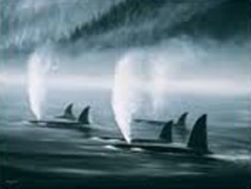 Orca Mist 1985 Super Huge with Remarque Limited Edition Print - Robert Wyland