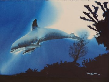 Dolphin Protection Watercolor 1990 26x32 Watercolor - Robert Wyland