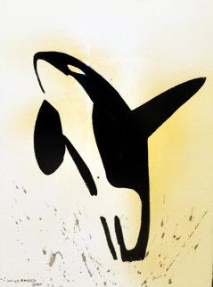 Orca Sumi-e Brush Art 2011 42x34 Huge Original Painting - Robert Wyland