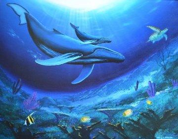 Humpback Reef 1995 30x36 Original Painting by Robert Wyland