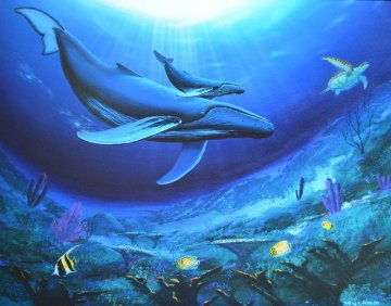Humpback Reef 1995 30x36 Original Painting - Robert Wyland
