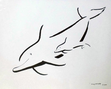 Untitled (Dolphin) 2005 28x22 Works on Paper (not prints) - Robert Wyland