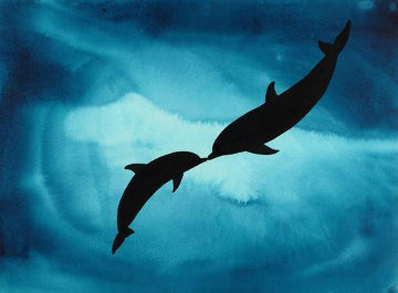 Kissing Dolphins Watercolor  2008 35x43 Watercolor - Robert Wyland