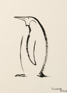 Penguin Sumi Ink 2012 24x20 Original Painting by Robert Wyland