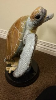 Sea Turtle Flight Bronze Sculpture AP 2002 20 in Sculpture - Robert Wyland