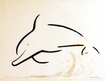 Chinese Brush - Dolphin Jump 2005 21x30 Original Painting by Robert Wyland